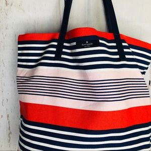 Kate Spade Bon Shopper Tote Bag Red White Blue